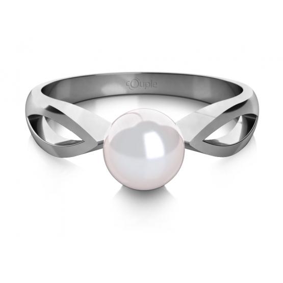 Couple, Půvabný prsten Taisa, bílé zlato a perla