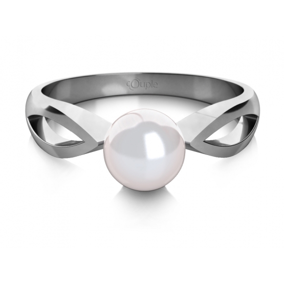 Půvabný prsten Taisa, bílé zlato a perla