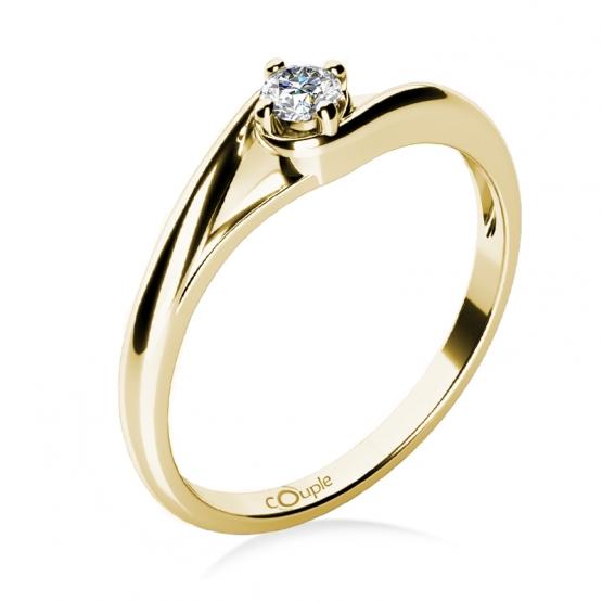 Zásnubní prstýnek Jane, žluté zlato a zirkon