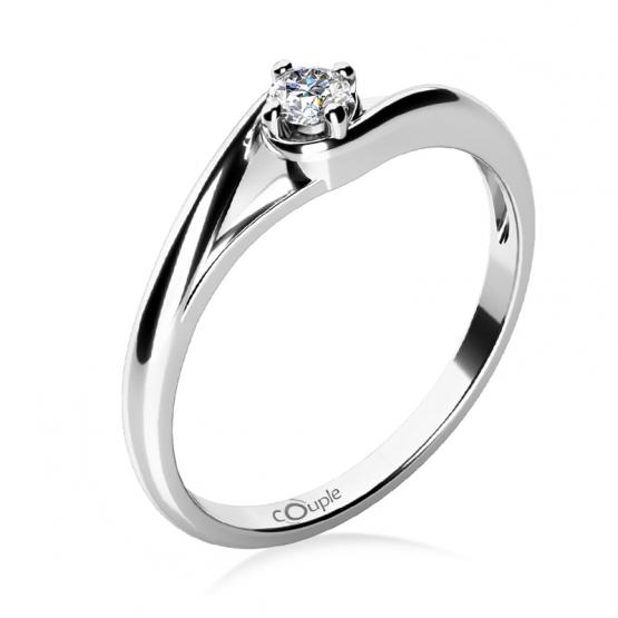 Zásnubní prstýnek Jane, bílé zlato a zirkon