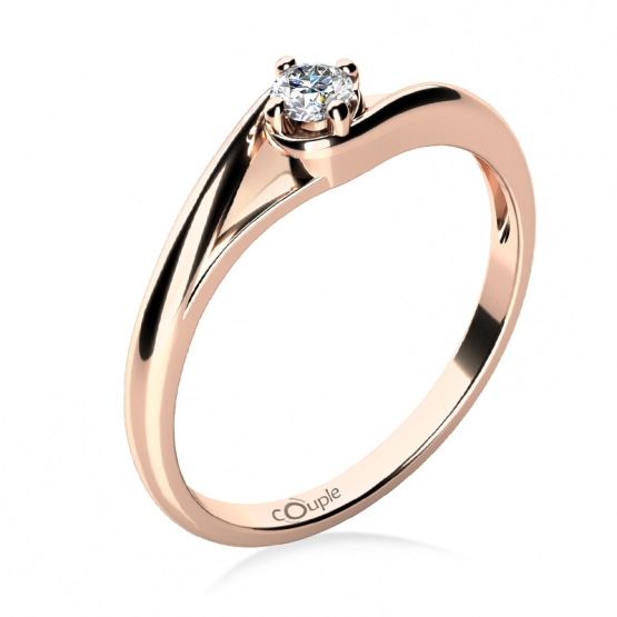 Zásnubní prstýnek Jane, růžové zlato a briliant