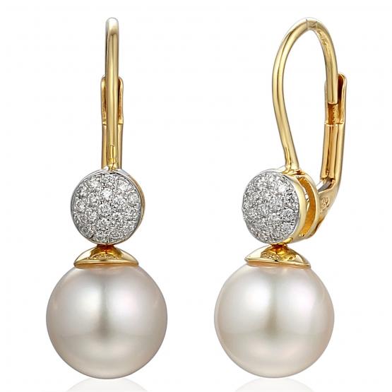 Briliantové náušnice Florence, žluté zlato a perly