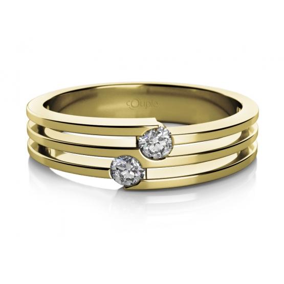 Zajímavý prsten Asu ze žlutého zlata se zirkony