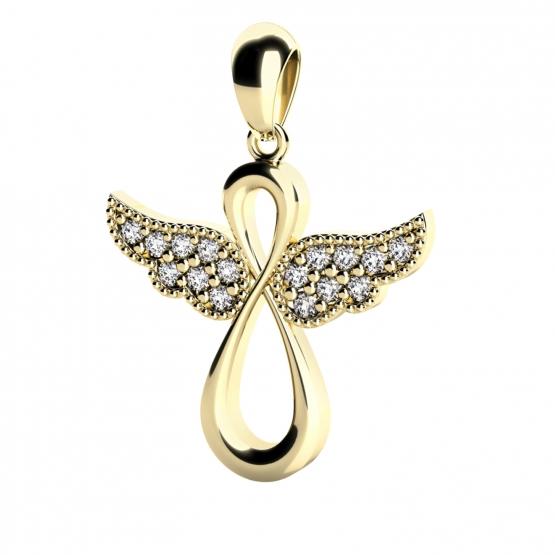 Andělský přívěsek Agnes II, žluté zlato a brilianty