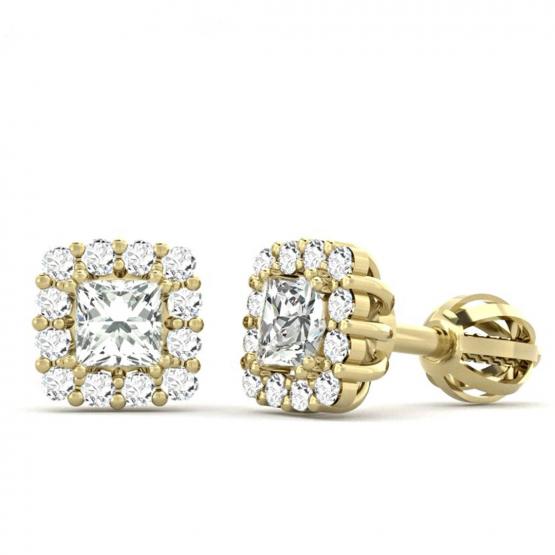 Couple, Elegantní pecky Clara, žluté zlato se zirkony