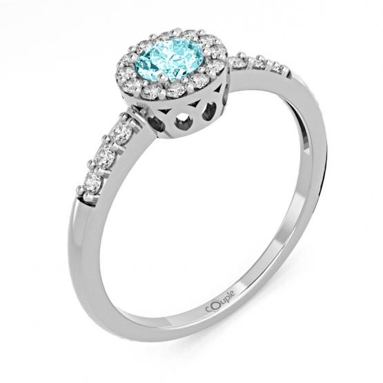 Honosný prsten Sari, bílé zlato se zirkony