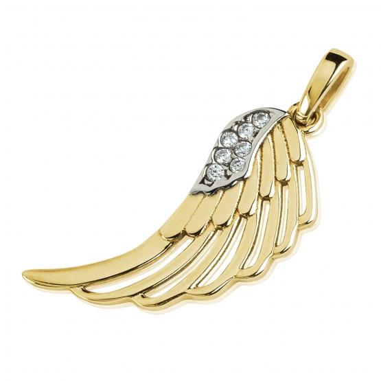 Přívěsek Wing, žluté zlato se zirkony