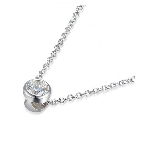 Elegantní náhrdelník Kirsty, bílé zlato s briliantem