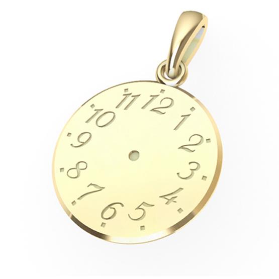 Přívěsek ze žlutého zlata – Křtící hodiny II
