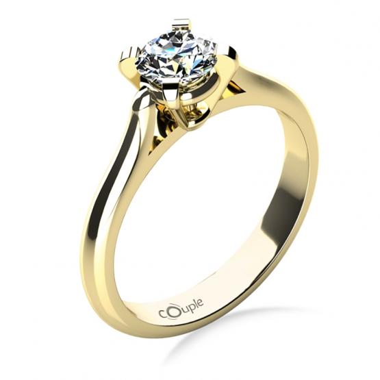 Zásnubní prsten Grace, žluté zlato s briliantem
