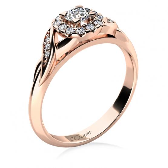 Zásnubní prsten Olympia, růžové zlato s brilianty