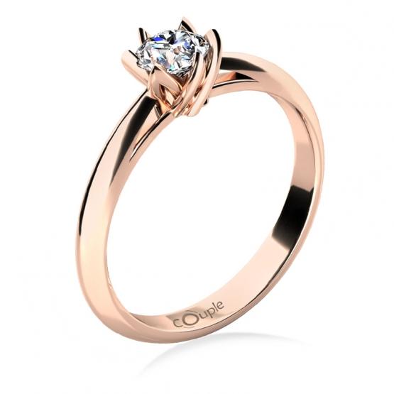 Zásnubní prsten Lucille, růžové zlato s briliantem