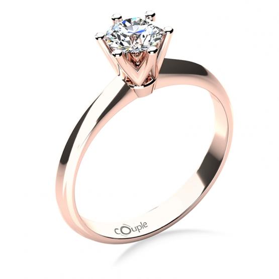 Zásnubní prsten May, růžové zlato se zirkonem