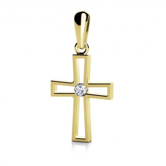 Křížek Christine – přívěsek ve žlutém zlatě s briliantem