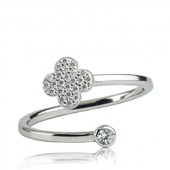 Originální prsten Spiral, bílé zlato se zirkony