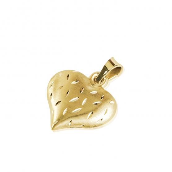 Zajímavý přívěsek Rani ve tvaru srdce, žluté zlato