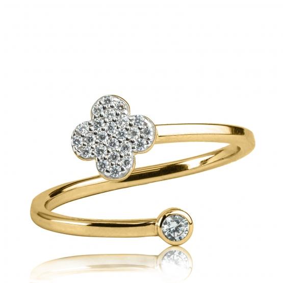 Luxur, Originální prsten Spiral, žluté zlato se zirkony