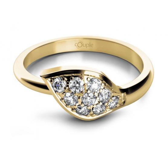 Půvabný prsten Leaf, žluté zlato se zirkony