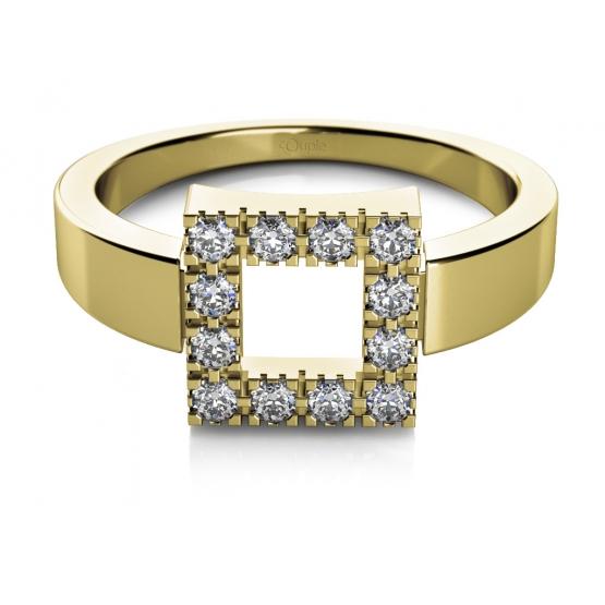 Minimalistický prsten Rea II ze žlutého zlata se zirkony