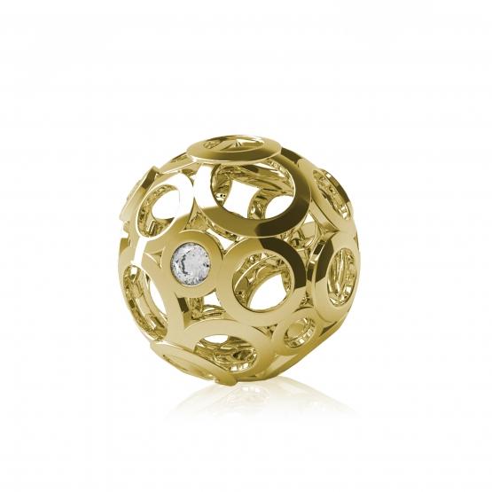 Couple, Elegantní přívěsek Ball, žluté zlato se zirkony