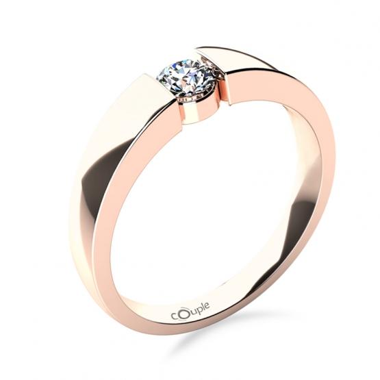 Couple, Briliantový zásnubní prsten Donna v růžovém zlatě