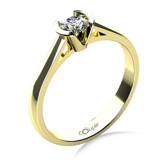 Zásnubní prsten Daria, žluté zlato s velkým briliantem