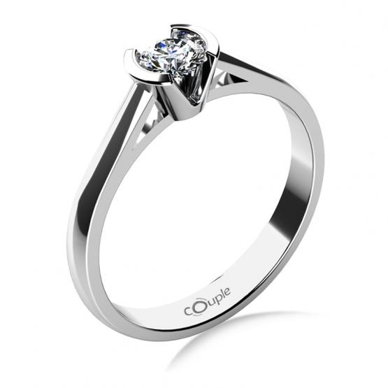 Zásnubní prsten Daria, bílé zlato s velkým briliantem