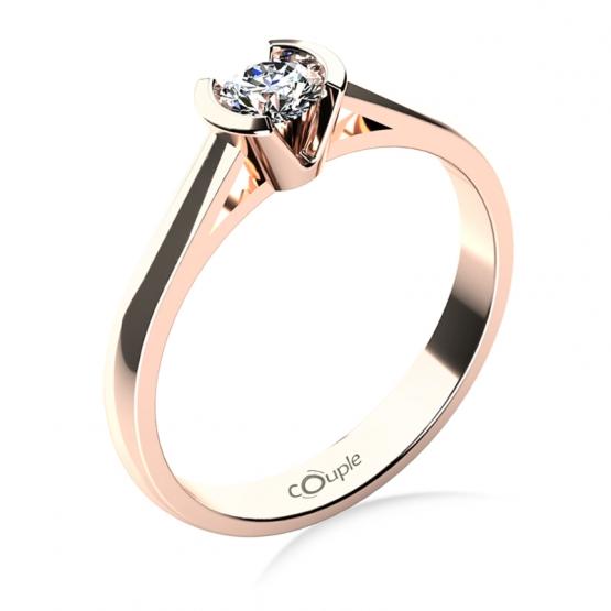 Couple, Zásnubní prsten Daria, růžové zlato s velkým briliantem