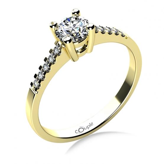 Zásnubní prsten Marcia ve žlutém zlatě s brilianty