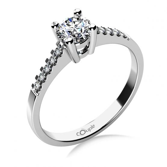 Zásnubní prsten Marcia v bílém zlatě s brilianty