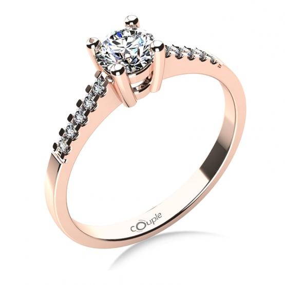 Zásnubní prsten Marcia v růžovém zlatě s brilianty