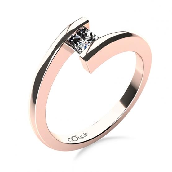 Couple, Zásnubní prsten Luise, růžové zlato se zirkonem
