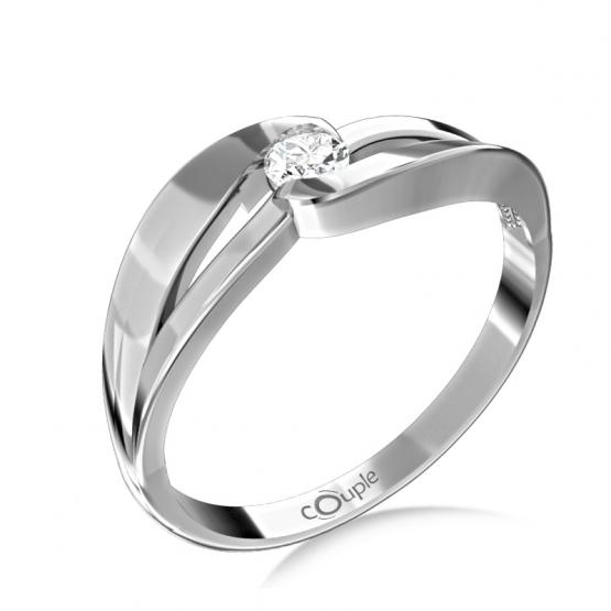 Podmanivý zásnubní prsten Rosa, bílé zlato se zirkonem