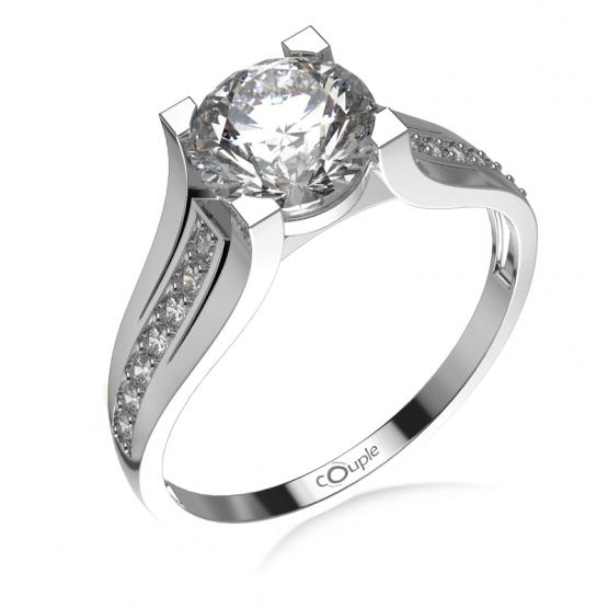 Couple, Luxusní zásnubní prsten Merci, bílé zlato a zirkony