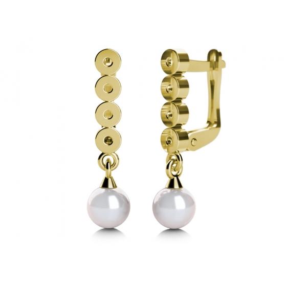 Elegantní perlové náušnice Corinne ze žlutého zlata