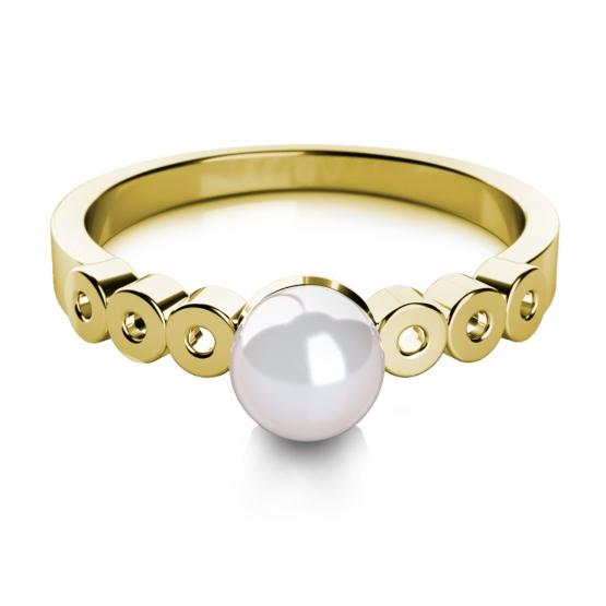 Elegantní perlový prsten Corinne ze žlutého zlata