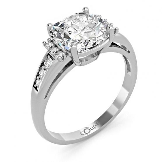 Výrazný zásnubní prsten Noisy, bílé zlato se zirkony