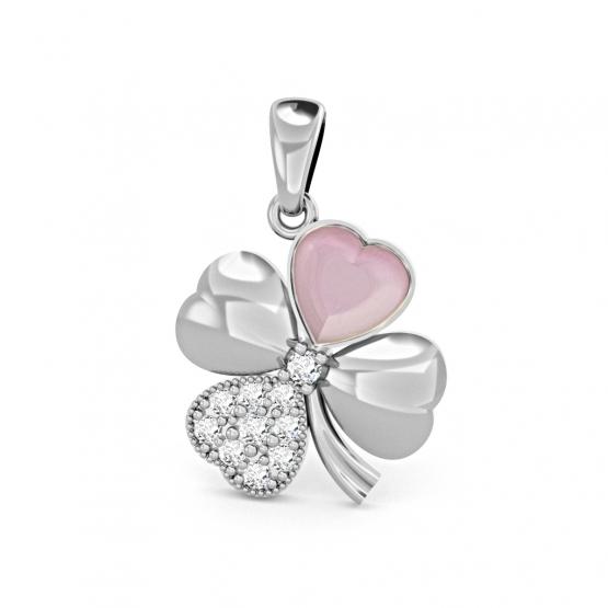 Přívěsek Chance – bílé zlato, zirkony a růžová perleť