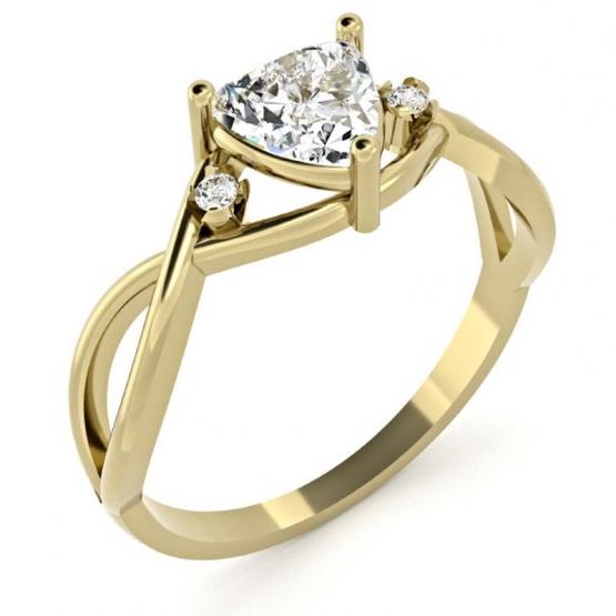 Originální prsten Karin, žluté zlato se zirkony