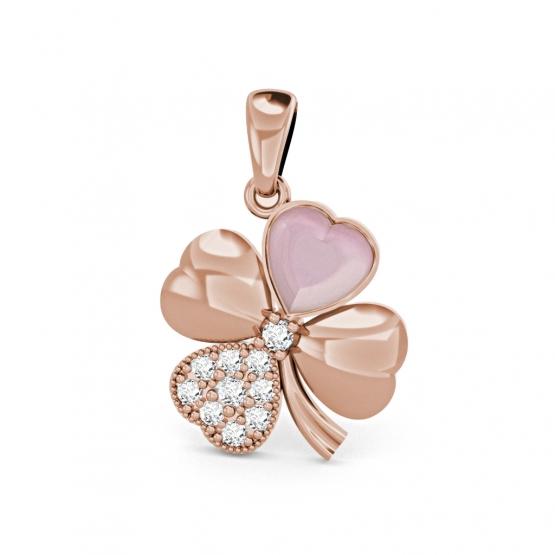 Přívěsek Chance – růžové zlato, zirkony a perleť