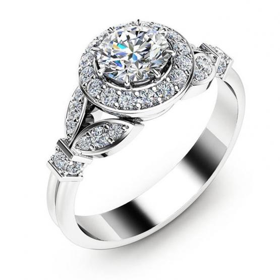 Luxusní zásnubní prsten Sweet Magnolia, bílé zlato a brilianty