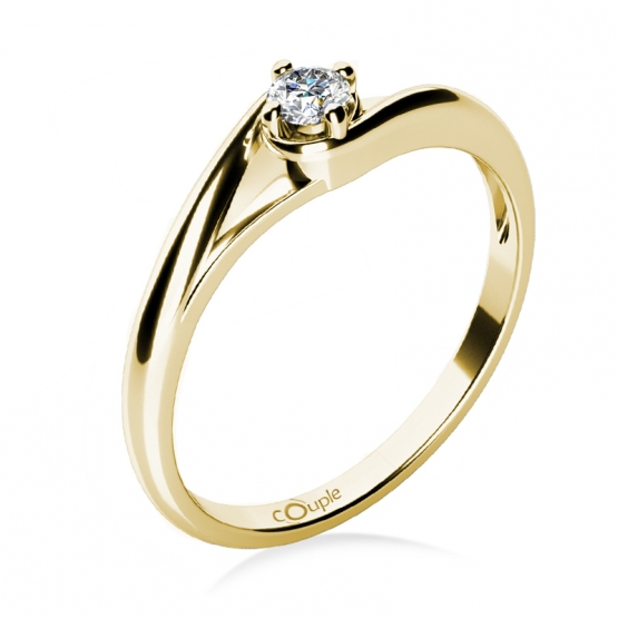 Zásnubní prstýnek Jane, žluté zlato a briliant