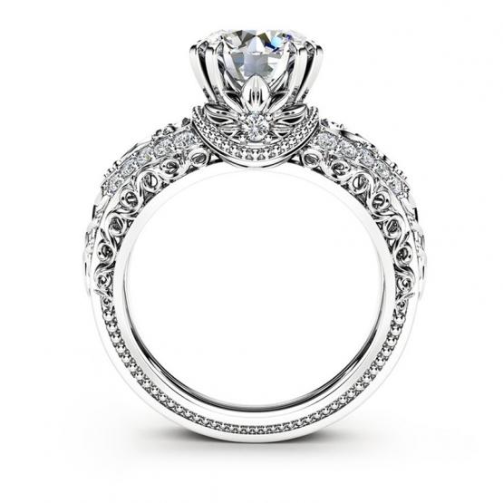 Noblesní prsten Divine Leandra, bílé zlato a brilianty