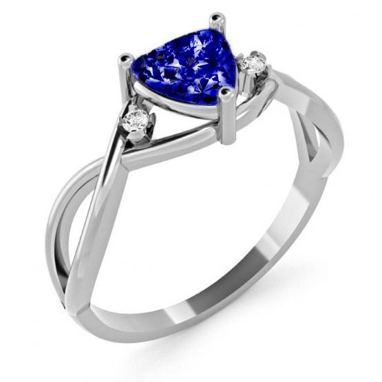 Originální prsten Karin, bílé zlato se zirkony