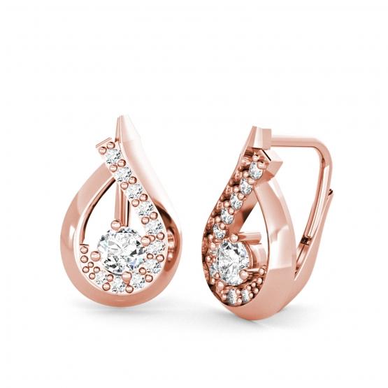 Couple, Elegantní náušnice Tear, růžové zlato se zirkony