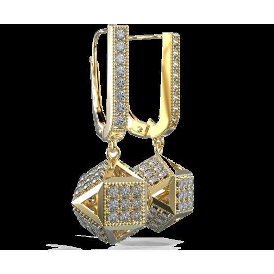 Originální náušnice Kostka, žluté zlato se zirkony