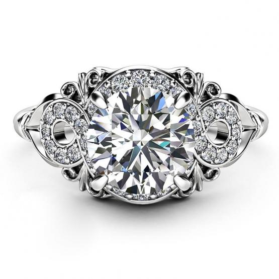 Pohádkový prsten Dazzling Rafael, bílé zlato a brilianty