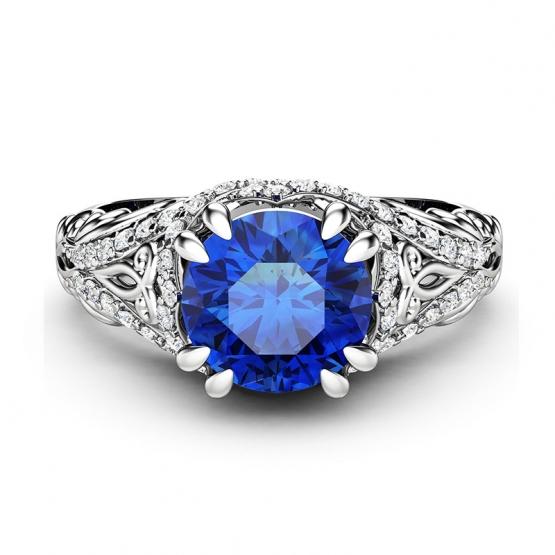 Výrazný prsten Magical Arabella – bílé zlato, safír a brilianty