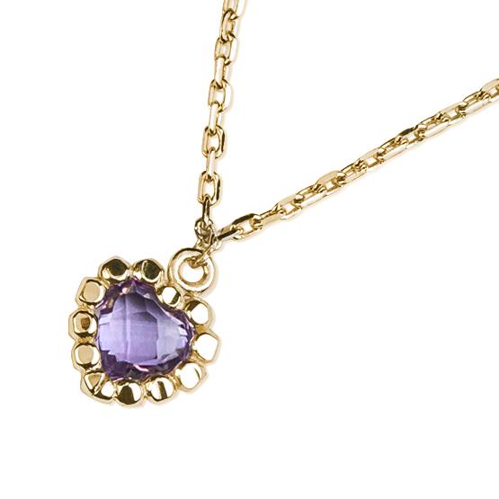 Romantický náhrdelník Leslie, žluté zlato a ametyst