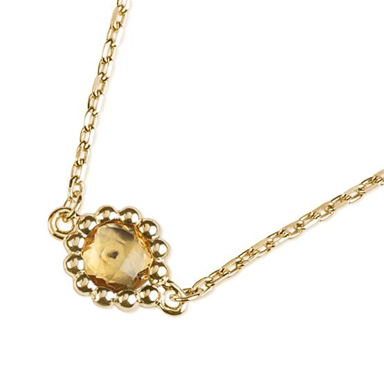 Neotřelý náhrdelník Leslie, žluté zlato a citrín